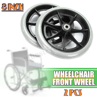 "1 Pair Of 200mm (8"") Non-Marking Grey Rubber Small Wheelchair Wheels"