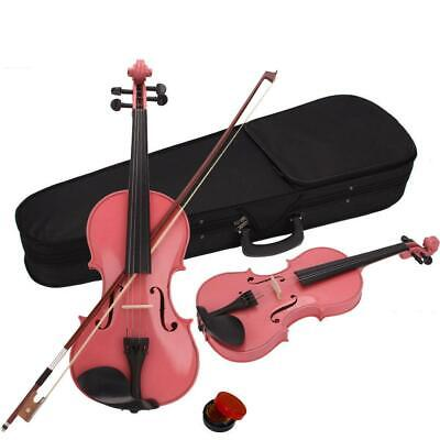 4/4 Size Pink Student Beginner Acoustic Violin Fiddle + Case+ Bow + Rosin