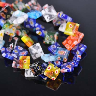 20pcs 10mm Rectangle Shape Millefiori Glass Loose Spacer Beads Random Mixed