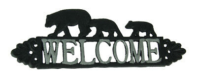 Rustic Black and White Cast Iron Bear Family Welcome Sign