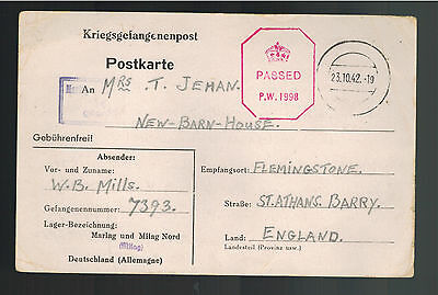 1942 Germany POW Prisoner of War Cover Postcard Marlag British Sailor to England