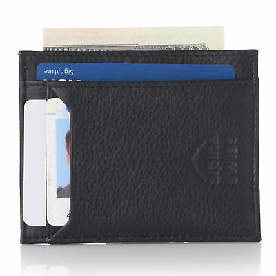 Alpine Swiss RFID Safe Leather Front Pocket Wallet Slim Minimalist Card Holder