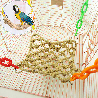 Pet Bird Parrot Parakeet Budgie Cockatiel Cage Hammock Swing Hanging Chew Toy !