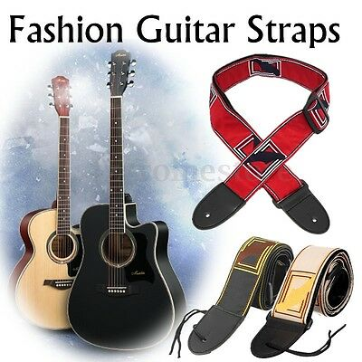 Electric Acoustic Adjustable Fender Guitar Bass Strap Nylon Leather Ends Hot !