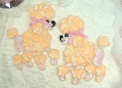 """Peach Poodle Dog Pair Sequin Beaded Appliques 6"""" Sewing Crafts Motif (0226X)"""