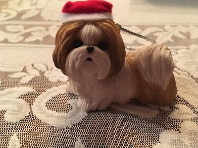Shih Tzu Christmas Ornament, Hand Cast & Hand Painted by Sandicast