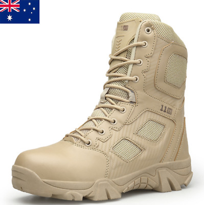 Mens Desert Army Tactical Comfort Boot Leather Combat Military Work Hunt Boots