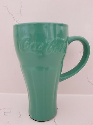 Coca Cola Ceramic Travel Mug with Lid in Nostalgic Green/Blue