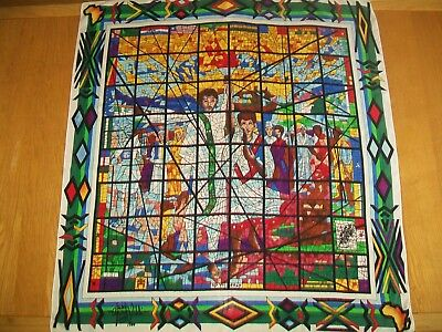 Fabulous Middle Eastern Stained Glass Window Design Vintage Silk Scarf