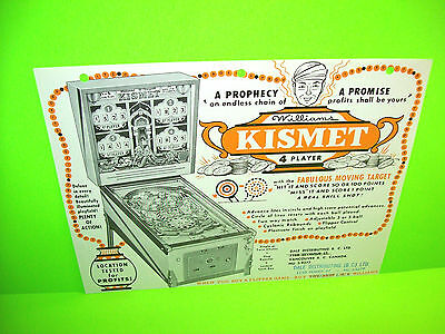 Williams KISMET 1961 Original Pinball Machine Flipper Game Promo Flyer RARE