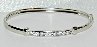 Sterling Silver Baby Bangle - Sparkling Zirconia Stones - Solid 925 Silver