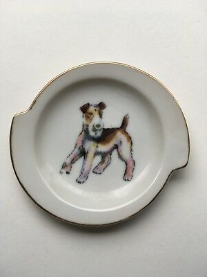 Vintage Airedale Plate. Small With Great Graphics. Red Stamp Japan