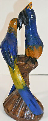 Hand carved Parrots on Perch: Wood & Hand Painted