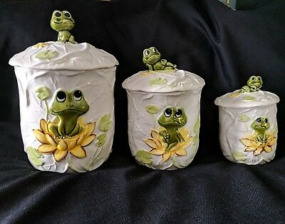 Neil The Frog Canister Set Of 3 Sears 1978 Set