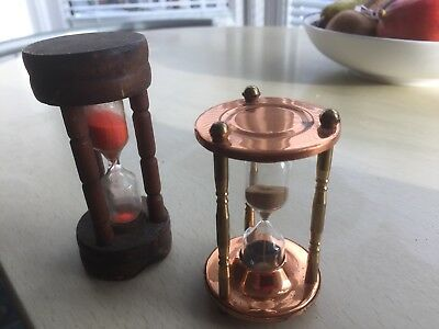 2 VINTAGE EGG SAND TIMERS ONE WOOD (3 Min) + ONE COPPER and BRASS (4 min)