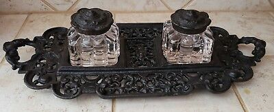 Antique  Eastlake Style Black Cast Iron Double Inkwell Clear Glass Ink Pots