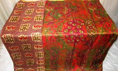 Multi-color Pure Silk 4 yard Vintage Sari Saree Pattern Patterns Pretty #9BWQ0