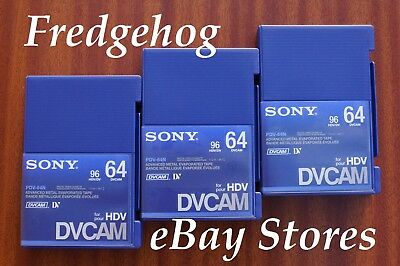 3 x SONY PDV-64 FULL SIZE DVCAM DIGITAL CAMCORDER TAPES/ CASSETTES - PRO QUALITY