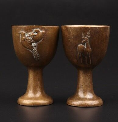 2 Wine Glass Hand Carved Bird Deer Statue Bronze Goblet Old Collection