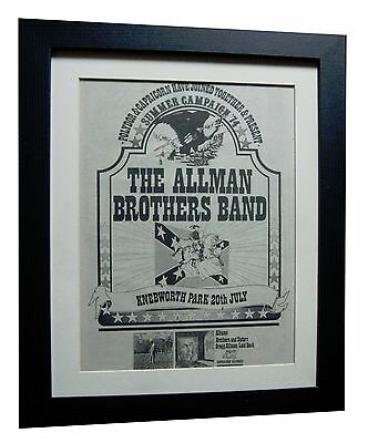 ALLMAN BROTHERS+Knebworth Park+ORIGINAL 1974 POSTER AD+FRAMED+FAST GLOBAL SHIP