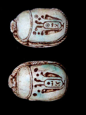RARE ANCIENT EGYPTIAN ANTIQUE2 SCARAB Carved White stone  1420-1353 BC