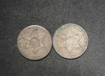 (2) Three Cent Silvers 3¢- 1856 and 1857- Nice Coins