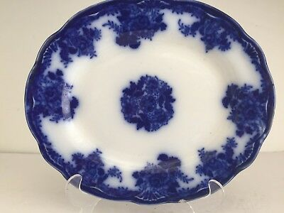 Antique WALDORF Pattern Flow Blue China Oval Serving Platter 10 3/4""