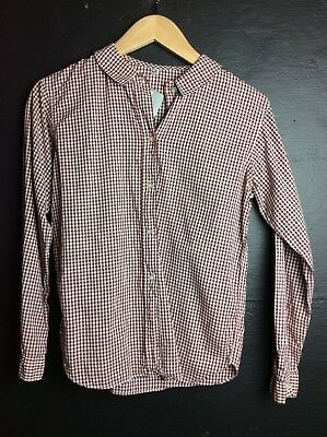 Vintage Girls Button Front Blouse Red Checker Size 12