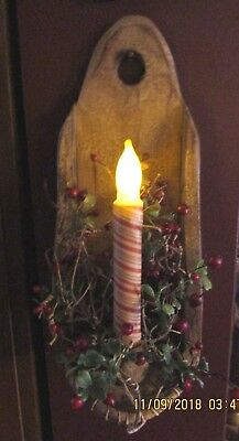 Primitive Rustic Look Candle Shelf/sconce With Striped Red/tan Batt, Candle