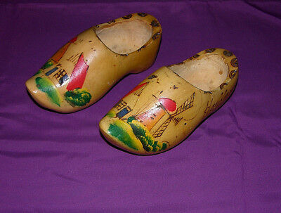 Vintage Wooden Shoes Hand Carved & Hand Painted Made In Holland Decorative