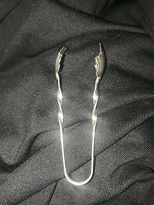 Antique Pair Of Signed R/Raimond Sterling Silver Sugar Or Ice Cube Tongs In Leaf
