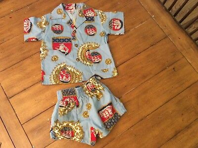 RARE Vintage Nautical boy swim set Suit Trunks Bathing Briefs shorts shirt 2 3T