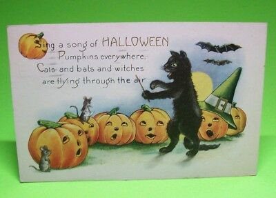 Halloween Postcard 1920s WHITNEY Original Antique Black Cat Music Conductor #4