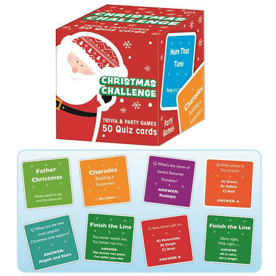 50 Trivia Christmas Questions Party Game Cards Festive Stocking Fillers Activity