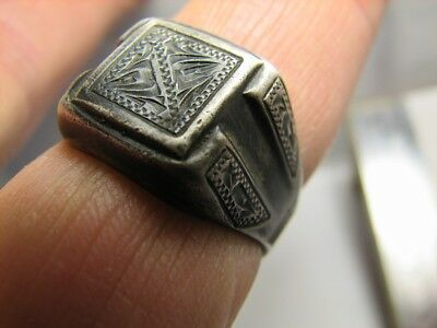 Interesing ! Custom Made ! Old  Vintage Sterling Silver Ring  #775