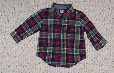 Navy, Red, White & Green Plaid Gymboree L/S Shirt, Holiday Shop 2015, 6-12 month