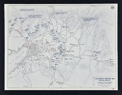 West Point Map - Spanish American War Battle of Santiago Surrender July 14 Cuba
