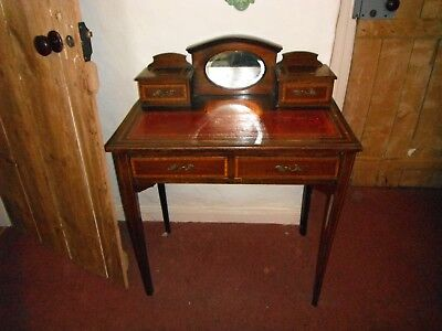 Pretty Original heavily inlaid ladies desk with red leather top mirror top