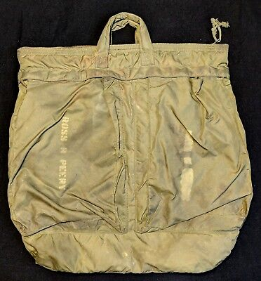 Vintage 1970s 1971 Vietnam Green Bag Flying Helmet Nylon Tote