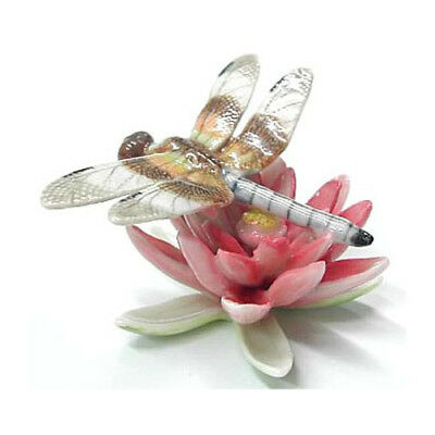 New NORTHERN ROSE Porcelain Figurine DRAGONFLY ON PINK WATER LILY FLOWER Statue