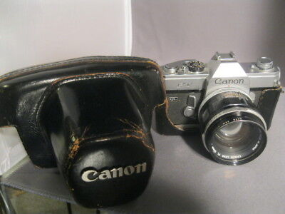 VINTAGE CANON FT 35mm CAMERA WITH CASE 55 mm LENS LIMITED TESTING
