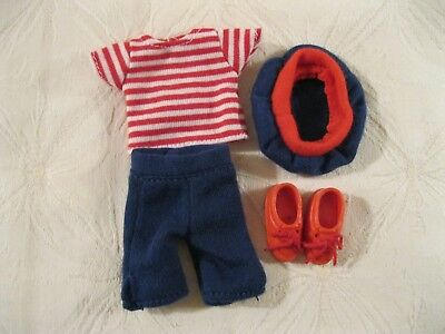 """Madeline 8"""" Doll Outfit French Red White Striped T-Shirt Navy Capris Beret Shoes"""