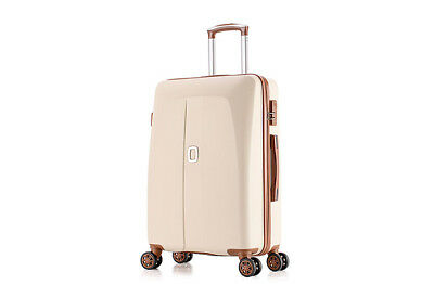 E44 Beige Universal Wheel Coded Lock Travel Suitcase Luggage 24 Inches W