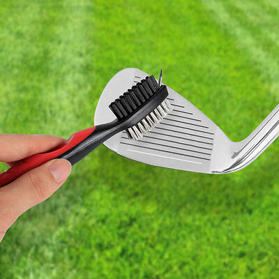 3Golf Club Brush Groove Cleaner Dual Sided Brush W/ Spike for Cleaning Club Face