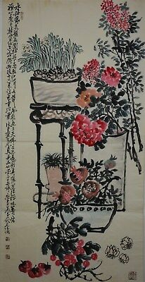Fine Large Chinese Painting Signed Master Wu Changshuo No Reserve Unframed H8997