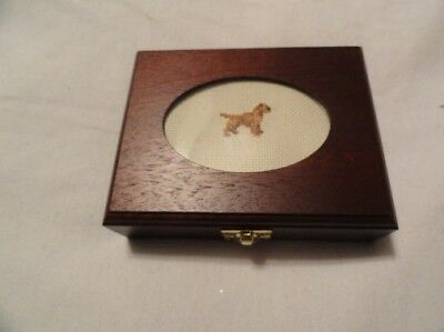 Border Terrier Small Wooden Trinket Box with Cross Stitch Insert LAST ONE!