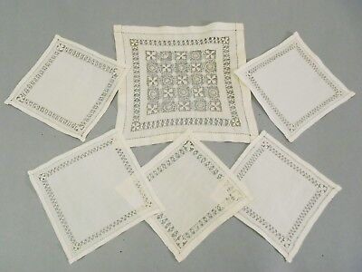 Antique linen handmade white work lace DOILIES 6pc set