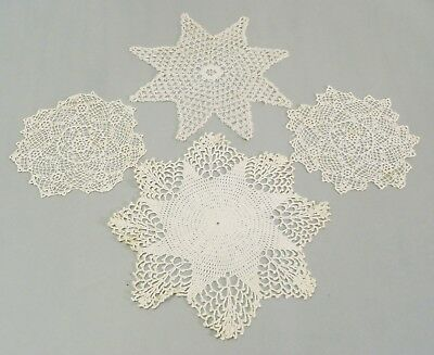 Lot of 4 Antique very fine hand crocheted  lace DOILIES