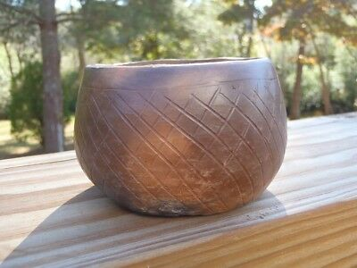 Warren Sanders Catawba Native American Indian SC Pottery Small Incised BOWL POT