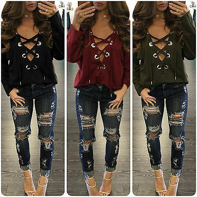 Women Plunge V-Neck Lace Up T-Shirt Long Sleeve Casual Top Blouse Sweatshirt Tee